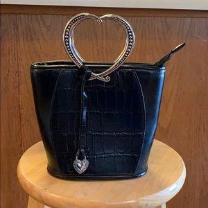 Black handbag with silver heart shaped handle